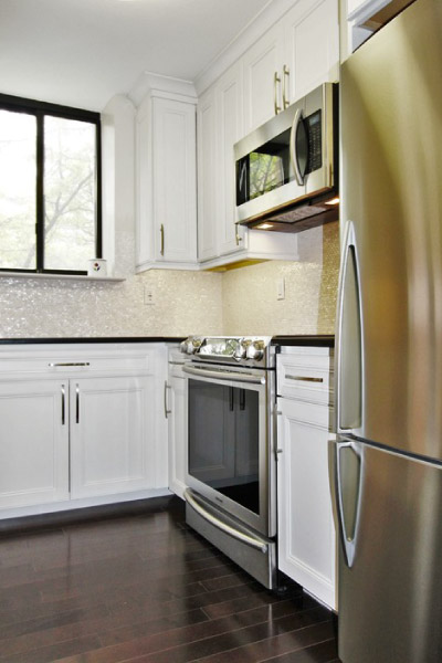 portrait image of newly renovated modern kitchen